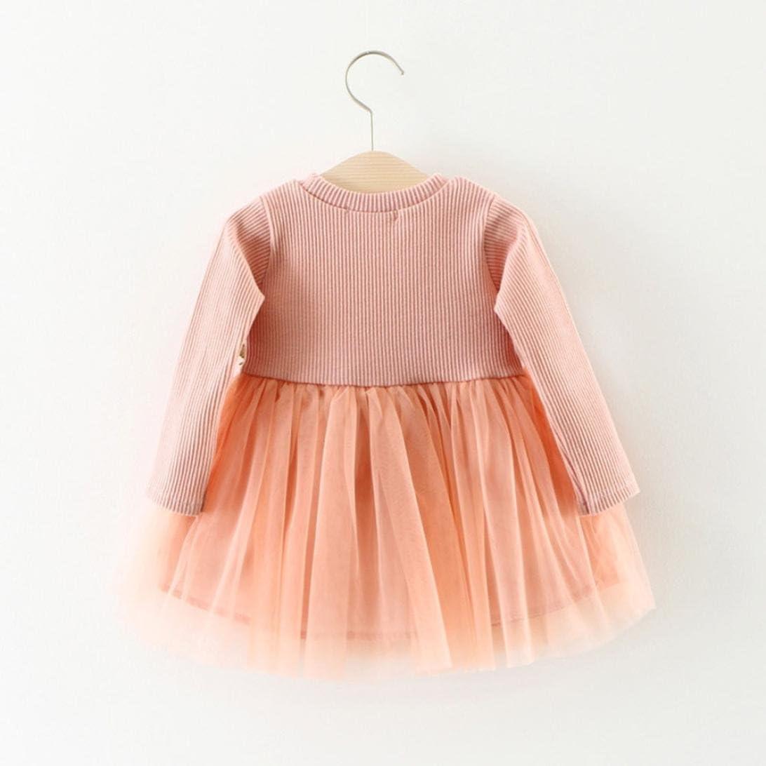 Kobay Niedlich Kleinkind Baby M/ädchen Floral Tutu Lange /Ärmel Prinzessin Kleid