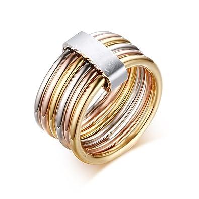 anazoz joyera de moda anillo de mujer acero inoxidable anillo color geometra multifilas