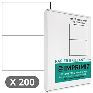 High Gloss White For Laser Printers 100 Sheets A4 adhesive labels 200 Self Adhesive Labels 210 x 148,5 mm Glossy White 2 labels per sheet