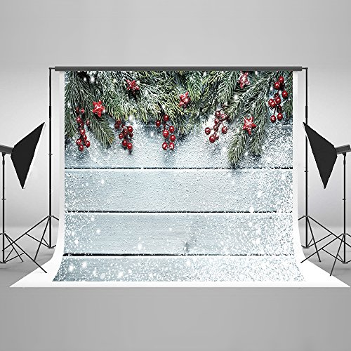 Kate Christmas Backdrops for Photography 10ft(W) x6.5ft(H) Wood Wall Backdrop Microfiber Snow Photo Background(Suit for Photography) -