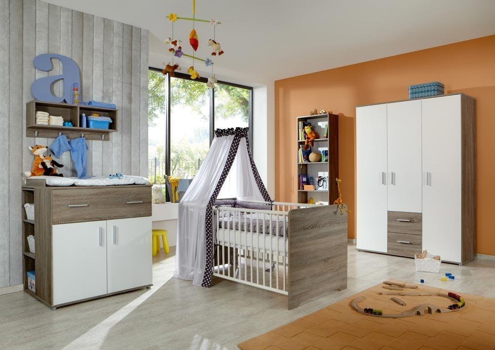 Babyzimmer 3-tlg. in Weiß/ Trüffel-Eiche-Nachbildung Kleiderschrankbreite 130 cm, Wickelkommodenbreite 87 cm, Kinderbett 70 x 140 cm