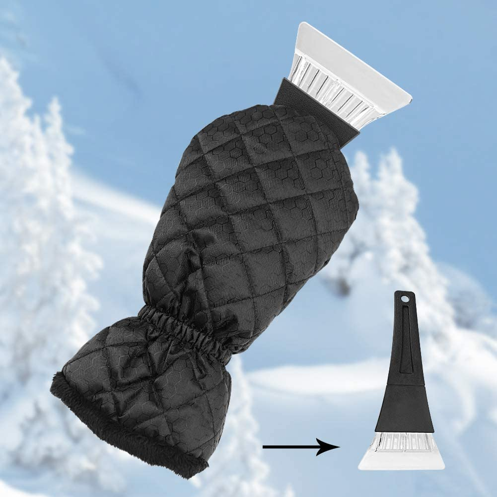 Ice Scraper for Car Windshield with Mitt 1 Pack Snow Ice Scraper Remover Tool with Glove Waterproof Warming Snow Shovel for car Window & Windshield, Scratch-Free (Black, 1 Pack)