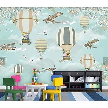 BIZHIGE Papier Peint Avion Ballon De Dessin Animé 3D ...