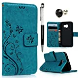 Mavis's Diary Galaxy S6 Edge Case Book Wallet PU Leather Magnetic Flip Case Butterfly Flower Embossing with Card Slots/Stand Cover for Samsung Galaxy S6 Edge with Dust Plug/Stylus Pen Turquoise