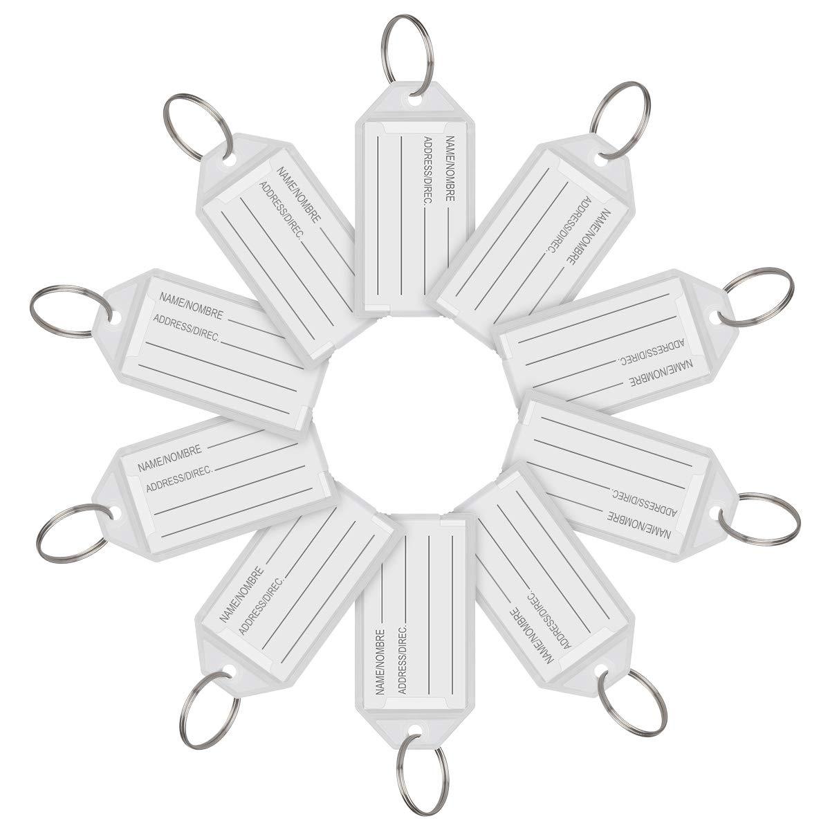 Gep/äckanh/änger Etiketten mit Spaltring Wei/ß Kunststoff Fenster Schl/üsselanh/änger 100 St/ück ID Hotgod Schl/üsselanh/änger