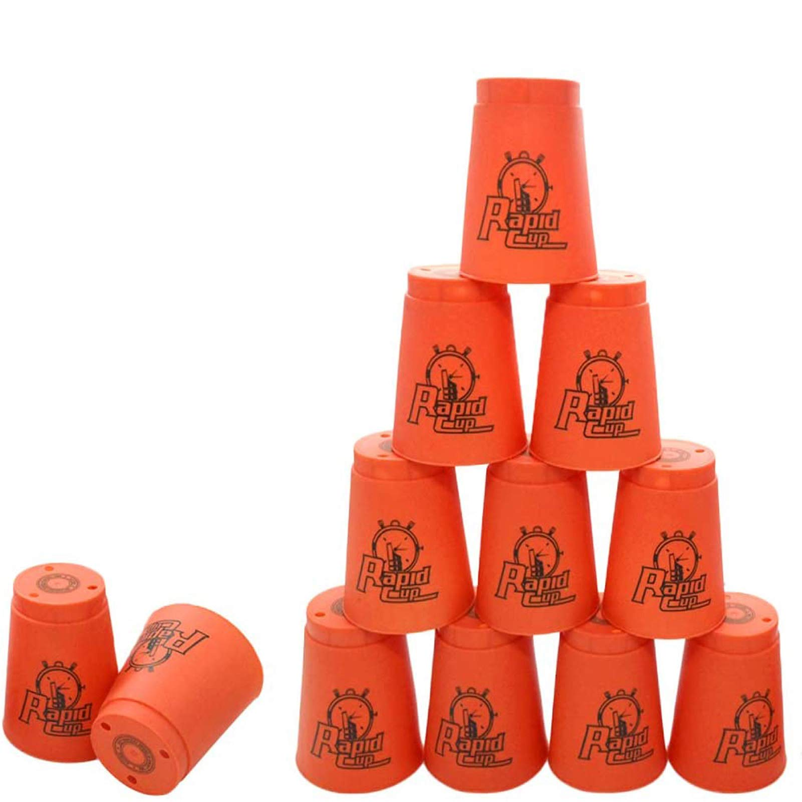 Quick Stacks Cups, Sports Stacking Cups Speed Training Set of 12 with Carry Bag (Red)