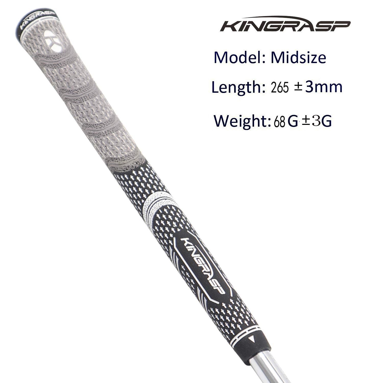 KINGRASP Multi Compound Golf Grips Set of 13 Golf Grip Standard midsize Size - All Weather Rubber Golf Club Grips Ideal for Clubs Wedges Drivers Irons Hybrids (Gray/Black, midsize) by KINGRASP (Image #2)