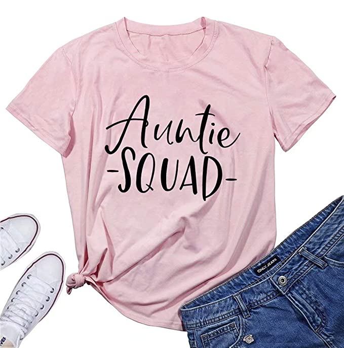 d013b2164 Amazon.com: Aunt Vibes Shirt Top Women Cute Love Heart Tee Short Sleeve  Casual Letter Graphic Tee T Shirt: Clothing