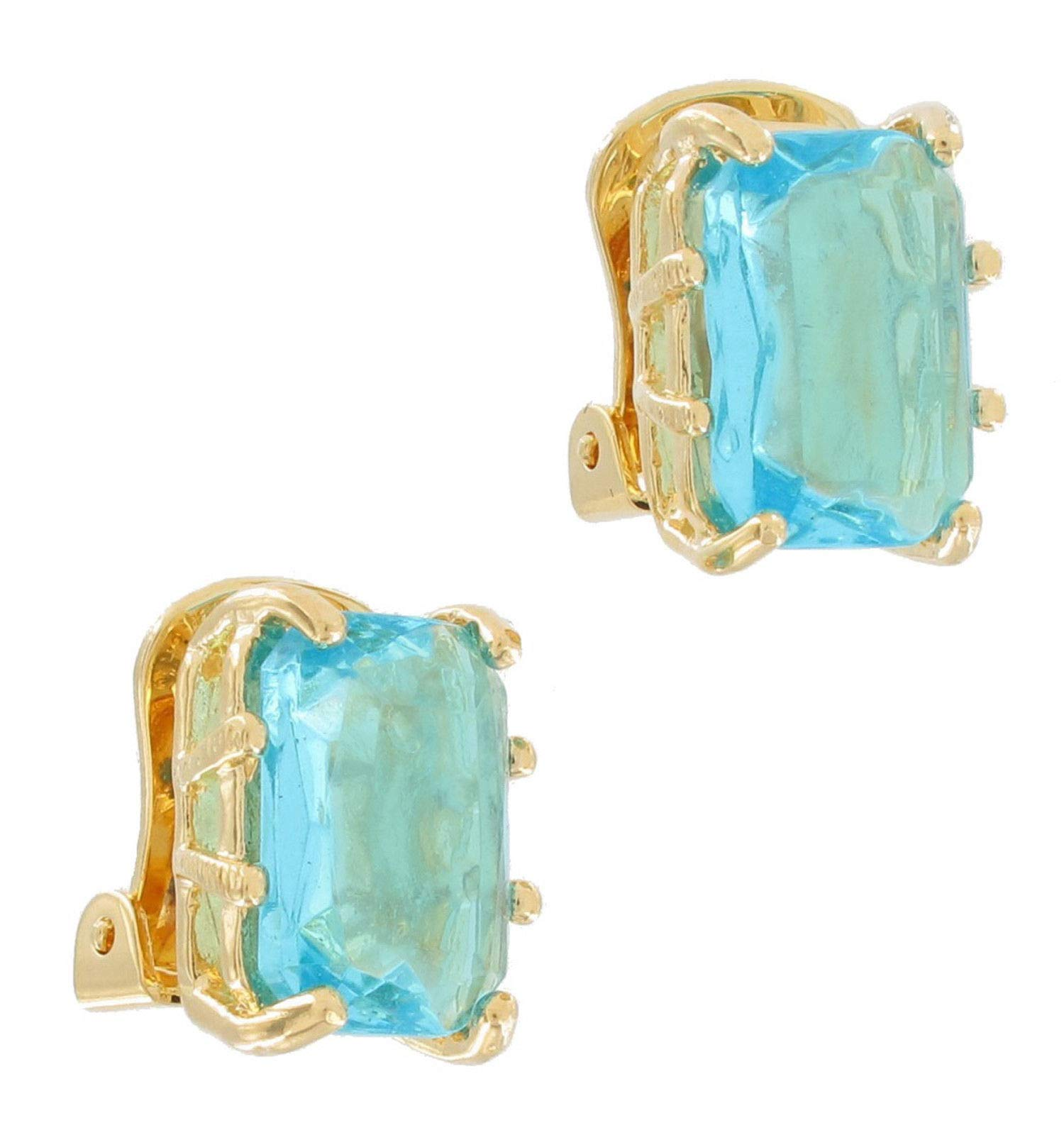Crystal Aquamarine Blue Gold Tone Octagon Clip On Earrings Big Jewel USA Made Earrings For Women Set by Wholesale Fashion Earrings