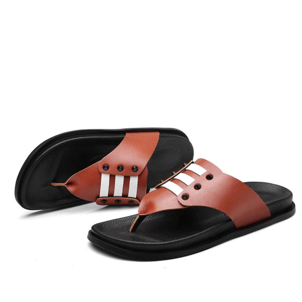 Sharon Zhou Zapatillas de Playa Ocasionales Zapatillas de Exterior Cómodas de Cuero de Verano para Hombres, Ideales para la Primavera, Verano y Otoño (Color : Reddish Brown, Size : 39 1/3 EU) 39 1/3 EU|Reddish Brown