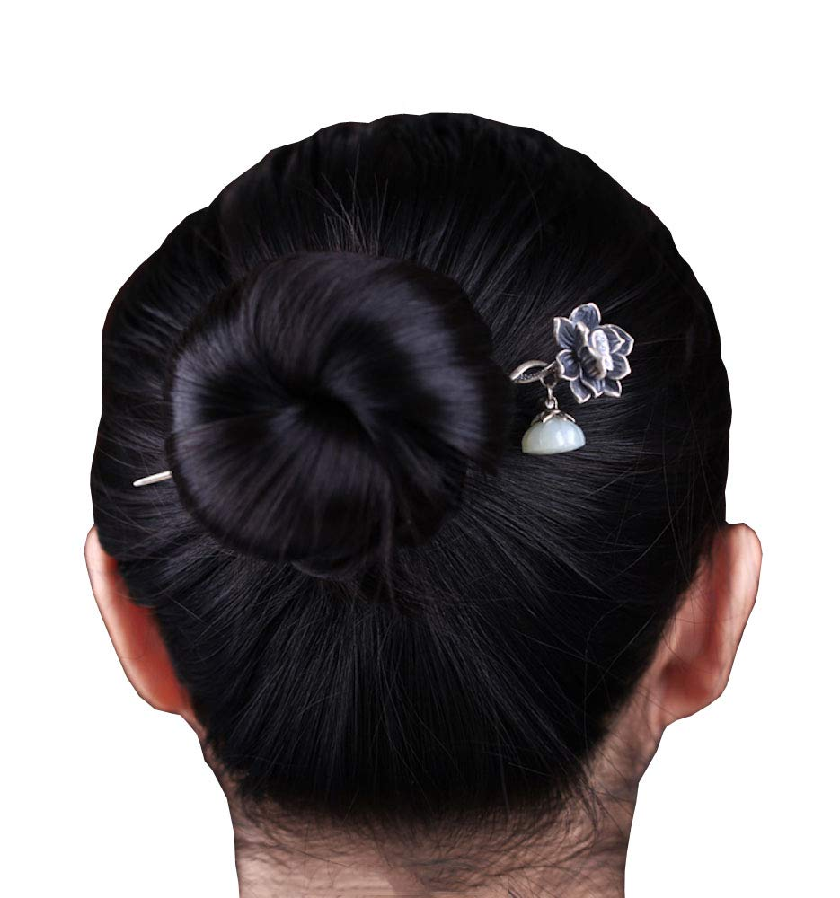 HangErFeng Hair Stick 925 Silver Hairpin Chinese Elements Make Old Lotus Mosaic Jade, Provide Gift Packaging (Silver)