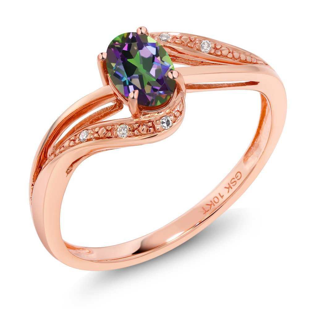10K Rose Gold 0.54 Ct Green Mystic Topaz and Diamond Women's Engagement Ring (Ring Size 8)