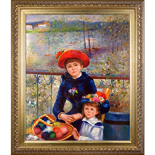 overstockArt Two Sisters On The Terrace, 1881 Framed Oil Reproduction of an Original Painting by Pierre Auguste Renoir, Elegant Wood Frame, Gold Finish (Renoir Pierre Auguste On The Terrace)