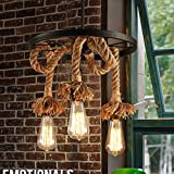 E27 Retro Hemp Rope 3-light Pendant Light Living Room Wine Bar Ceiling Light Chandelier Led Matel Wheel LOFT Cooffe Bar Decoration Hanging Light fixture