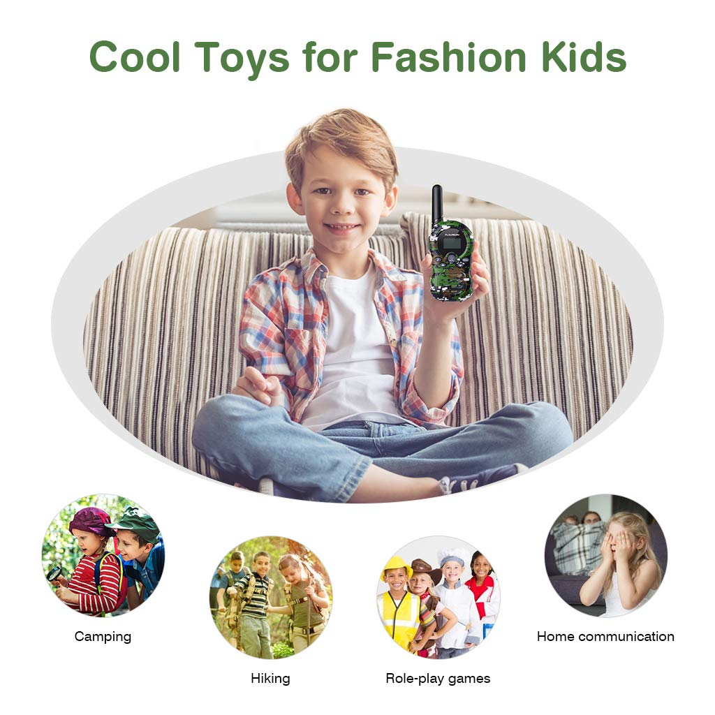 V269C77Q-ZLYUS-F1 floureon Kids Walkie Talkies Two Way Radios 22 Channel 3000M MAX 5000M Open Field Pink 4 Pack UHF Long Range Handheld Talkies Talky