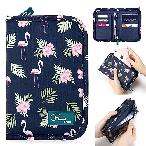 Passport Wallet Holder for Men&Women,RFID Blocking Travel Waterproof Credit Card&Money Bag Multifunctional Family Zipper Cellphone Accessories Storage Boarding Passes Organizer (Flamingo)