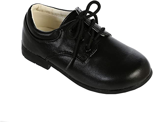 Boys Leatherette Derby Oxford Dress Shoes