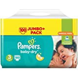 Pampers Baby-Dry Size 3 Nappies 6-10kg Jumbo Pack 100 Nappies per Carton