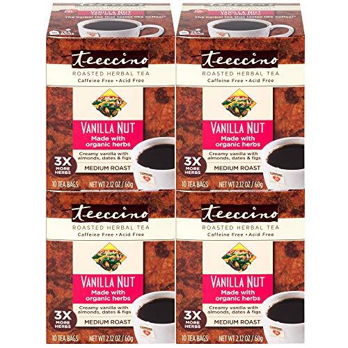 Teeccino Coffee Vanilla Nut Chicory Roasted Herbal Tea, Caffeine Free, Acid Free, Prebiotic, 10 Tea Bags (Pack of 4) -
