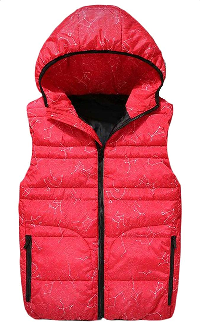 Pandapang Mens Pocket Floral Print Zip Sleeveless Hoody Comfortable Jacket Down Vest