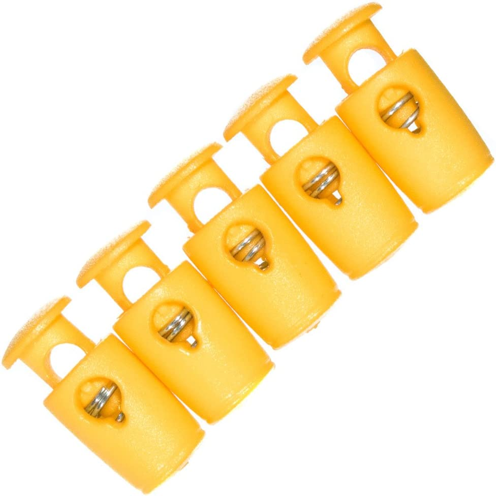 Yellow, 5 Pack Micro Single Barrel Cord Locks Nano Paracord Projects Variety of Colors and Pack Best for Mini Micro