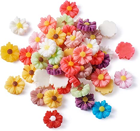 50pcs Mixed Flowers Resin Flatback Embellishment Charms for DIY Phone Case
