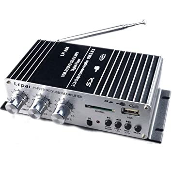 polarlander USB/FM coche amplificador a68usb pequeña música amplificador 12 V Motocicleta Pequeño amplificador de