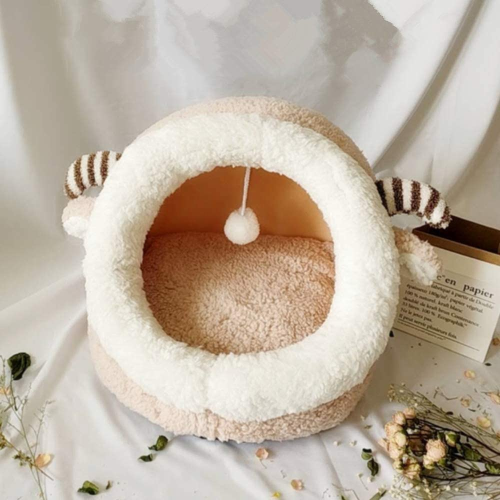 Qchomee Cat Cave Igloo Cat Dog Bed House Cute Sheep Warm Fleece Cuddle with Hanging Pom,Soft Pet Bed Sofa for Cats Kitty Puppy Small Dog Animals,Detachable Washable Cushion,45x42x34cm Beige