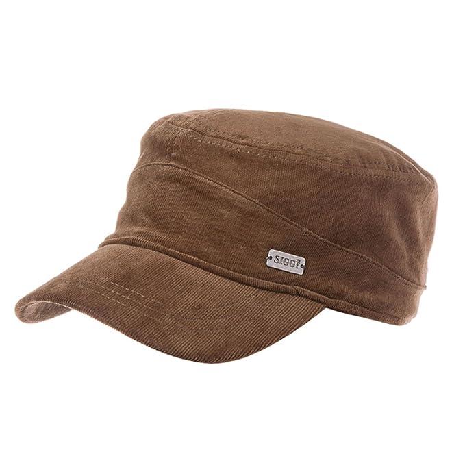 PLMWQAVDFN Sombrero de los Hombres Al Aire Libre Vintage Sombrero Caliente Pana Cap Gorra Militar Gorras Planas Gorra-C: Amazon.es: Ropa y accesorios