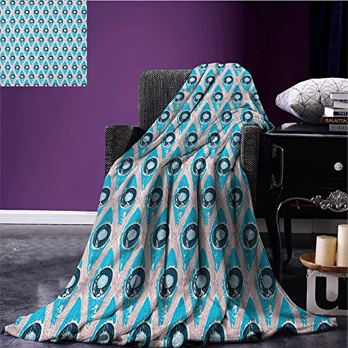 ket Brushstroke Diamond Grid with Circle Disc Shapes Grunge Hipster Art all weather blanket Blush Blue and Night Blue size:59