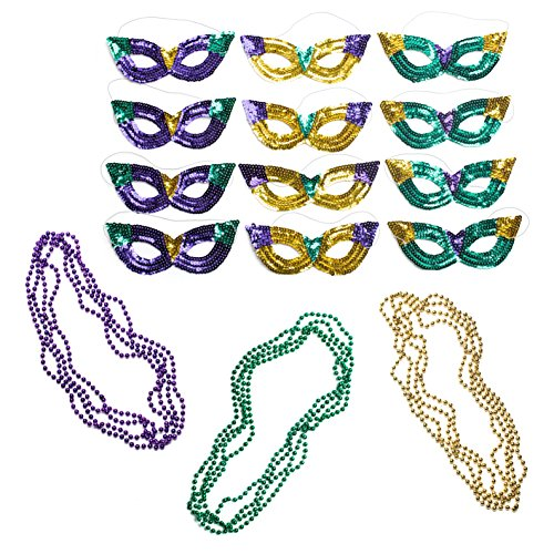 Neliblu Mardi Gras Party Supplies Accessory Set, 1 Dozen Sequin Cat Eye Mask, 12 Mardi Gras Beads Necklaces Bulk Value Set By ()