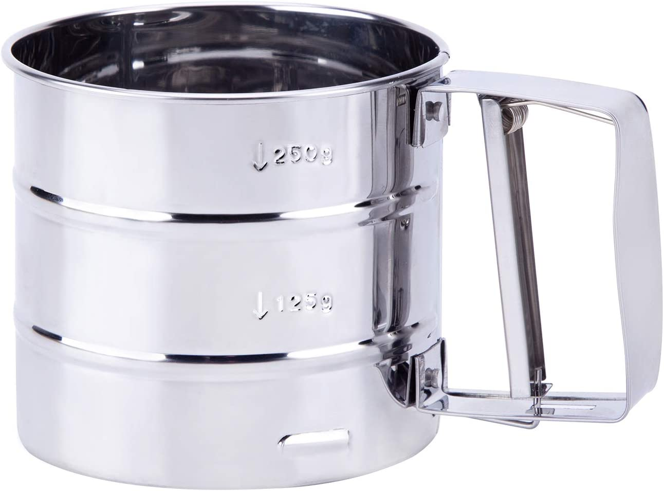 Stainless Steel Flour Sifter Semi Automatic Double Layers Sieve Coffee Powder and Flour Large Baking Sieve Cup for Sugar