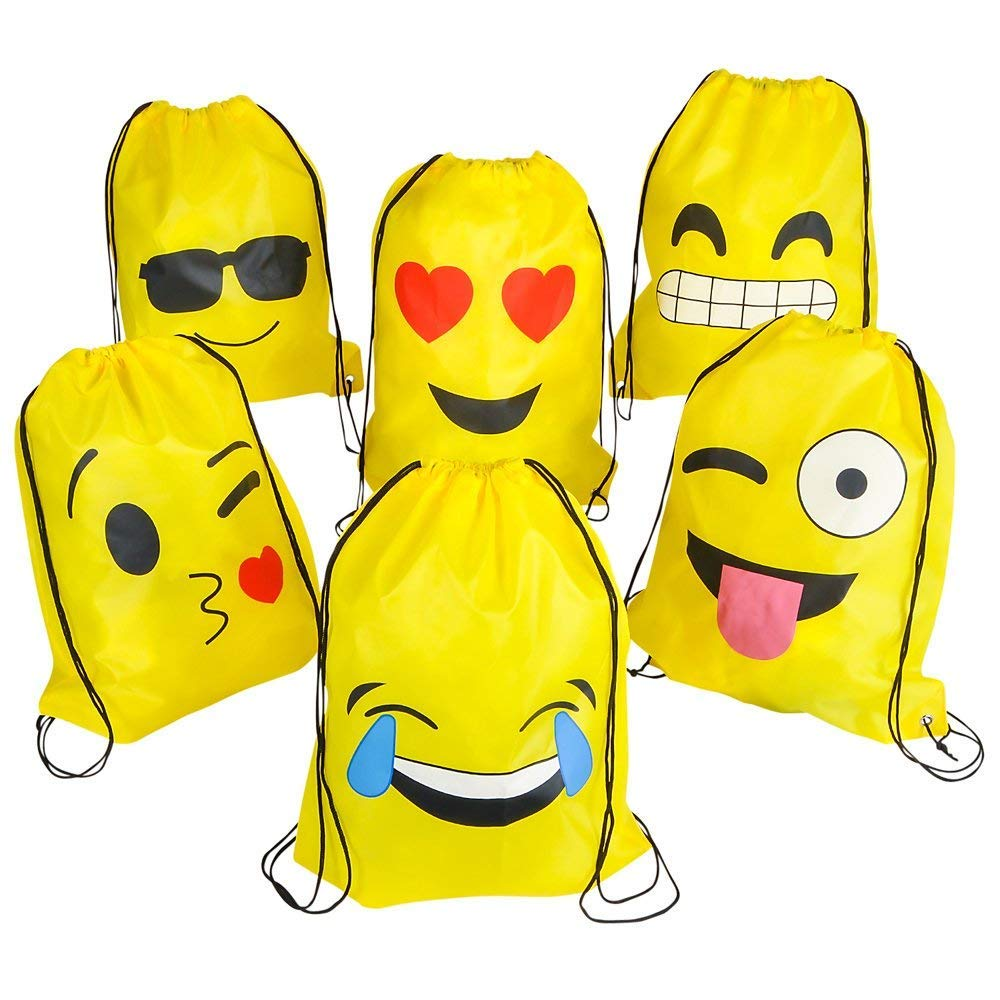 Rhode Island Novelty 16''x13'' Emoticon Drawstring Backpack (24 Pack)