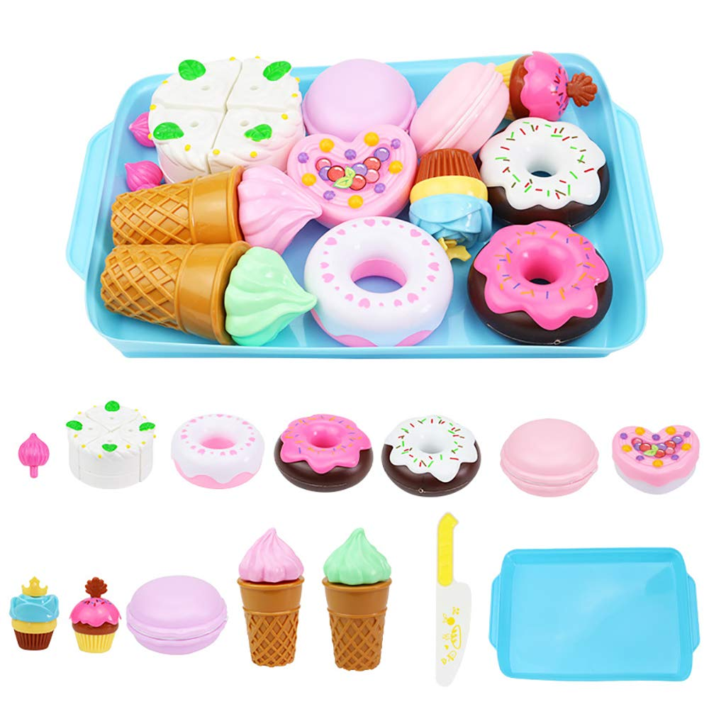 ELitao 15 PCS Pretend Play Food Set - Pretend Cutting Play Desserts Cake Ice Cream and Donuts Food Toys - Birthday Gifts Set Toy for Boys, Girls, Kids (Blue) by ELitao