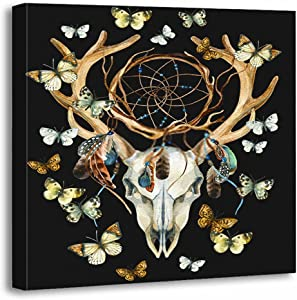 Subently Canvas Print Wall Painting Pictures Bohemian Deer Skull Animal with Dreamcather and Butterfly 16x16 Inch Artwork Modern Decor for Living Room Bedroom Bathroom Gift