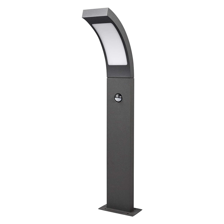 Lampenwelt LED Außenleuchte Juvia mit Bewegungsmelder (spritzwassergeschützt) (Modern) in Schwarz aus Aluminium (1 flammig, A+, inkl. Leuchtmittel) | Wegeleuchte, Pollerleuchte, Wegelampe, Sockelleuchte [Energieklasse A+]