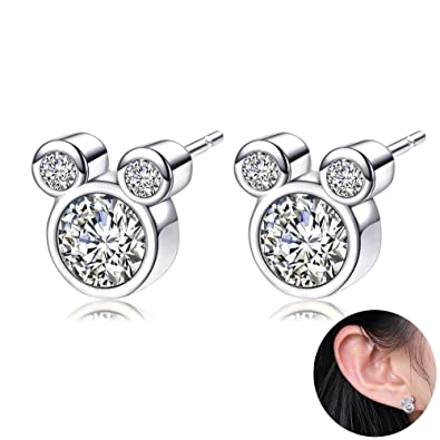 1pair Womens Stud Earrings Ladies Silver Plated Cubic Zircons White Crystal M Mouse Earrings Studs Earbob Jewelry for Girls Children Rose Gold