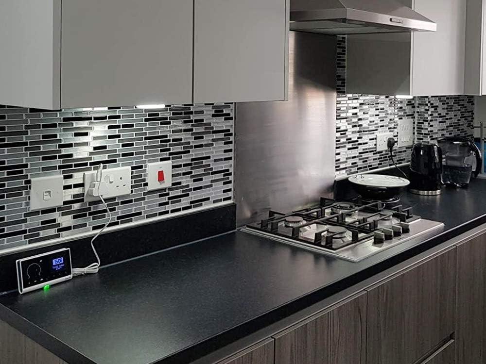 STICKGOO Panel de azulejos antisalpicaduras y antimoho de gama alta, lámina autoadhesiva de azulejos para cocina y baño, solo hay que pelar y pegar, extraíble, 27,94 x 23,37 cm (6 láminas): Amazon.es: