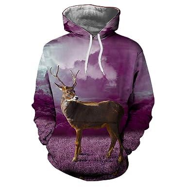 WM & MW Novelty Mens Xmas Sweatshirt Hoodie Fashion Party Christmas Deer 3D Print Hooded Pullover
