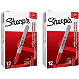 Sharpie 30002 Fine Point Permanent Marker, Marks On Paper and Plastic, Resist Fading and Water, AP Certified, Red Color, Pack Of 2 Boxes Of 12 Markers