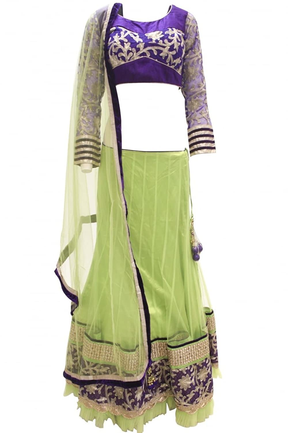 DCC2363 Light Green and Indigo Traditional Chaniya Choli Indian Bollywood Lengha Choli