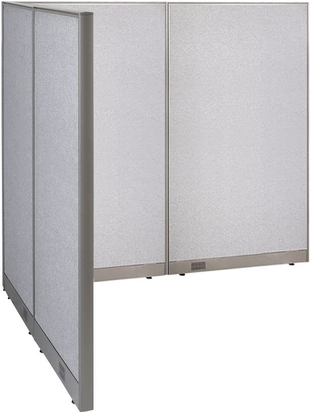 "GOF Freestanding L Shaped Office Partition, Large Fabric Room Divider Panel, 60""D x 96""W x 72""H"