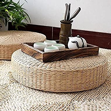 LB Japanese Style Handcrafted Eco-friendly Summer Breathable Padded Knitted Straw Flat Seat Cushion,Hand Woven Tatami Floor Cushion Corn Maize Husk Back Pain Relief Pillow,Zen Yoga Mat (Large)