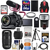 Canon EOS 80D Wi-Fi Digital SLR Camera & 18-135mm IS Video Creator Kit + 70-300mm IS Lens + PZ-E1 Adapter + RODE Mic +2 Cards + Battery + Tripod + Backpack + Flash Kit