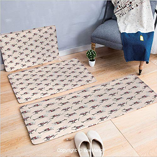 3 Piece Anti-Skid mat for Bathroom Rug Dining Room Home Bedroom,Alice in Wonderland,Humpty Dumpty Egg Dancing Character Fairy Alice Fantasy Decor,Pink Brown Red,16x24/18x53/20x59 inch