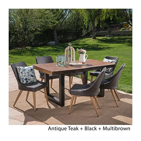 Christopher Knight Home Danae Outdoor 7 Piece Multibrown Wicker Dining Set with Antique Teak Finish Light Weight Concrete Table, Black - The beautiful blend of light weight concrete and wicker comes to life with this dining Set, complete with six wicker dining chairs, you can enjoy eating in your backyard whenever you want, The legs of each chair are made from iron with a wood finish, giving you the aesthetic look of wood with the durability of metal, The light weight concrete material of the table is weather resistant, and virtually indestructible, great for patios that endure those harsh winters and hot summers Includes: one (1) table and six (6) chairs. Table material: Light weight concrete. Table leg Material: iron. Chair Material: Polyethylene wicker Chair leg Material: metal with wood Finish. Table Finish: Antique teak. Table leg Finish: Black - patio-furniture, dining-sets-patio-funiture, patio - 61Uq%2B9pOFSL. SS570  -