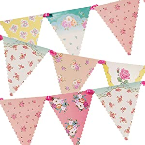 Talking Tables Tea Party Decorations Floral Banner Bunting | Truly Scrumptious | Also Great For Birthday Party, Baby Shower, Wedding And Anniversary | Paper, 4M
