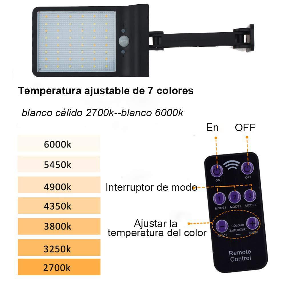 1 PACK luces solares del sensor de movimiento con 3 modos para el jard/ín Super brillante 48 LEDs camino IP65 impermeable con control remoto entrada Luces solares al aire libre