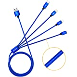 JASTEK Multi Charging Cable, 3.3 Feet (1M) 4 in 1 Braided Multiple Charging Cable Alluminum Adapter Connector with Type C, 2x 8 Pin Lighting, Micro USB for Universal Use - Blue