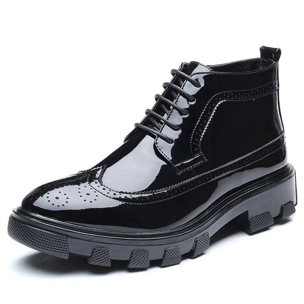 HYF Men's Business Ankle Boots Casual Fashion Anti-skid Thick Patent Leather Brogue Formal Shoes Dress Shoes (Color : Black, Size : 9.5 D(M) US)